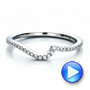 Contemporary Curved Shared Prong Diamond Wedding Band - Interactive Video - 100410 - Thumbnail