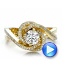 Custom Yellow Gold and Diamond Engagement Ring - Interactive Video - 100433 - Thumbnail