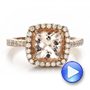 14k Rose Gold Antique Cushion Morganite And Diamond Halo Ring - Video -  100456 - Thumbnail