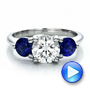 Custom Three Stone Diamond and Sapphire Engagement Ring - Interactive Video - 100483 - Thumbnail