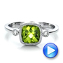 18k White Gold 18k White Gold Peridot And Diamond Ring - Video -  100485 - Thumbnail