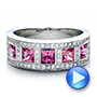 18k White Gold Custom Pink Sapphire And Diamond Anniversary Band - Video -  100552 - Thumbnail