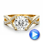 Custom Diamond and Yellow Gold Engagement Ring - Interactive Video - 100565 - Thumbnail