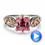 14K Gold And 14k Rose Gold Custom Two-tone Pink Sapphire And Diamond Engagement Ring - Video -  100570 - Thumbnail