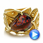 Custom Men's Black Opal and Yellow Gold Ring - Interactive Video - 100574 - Thumbnail
