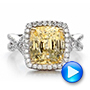 Custom Yellow Sapphire and Diamond Halo Engagement Ring - Interactive Video - 100594 - Thumbnail