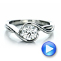 Platinum Platinum Custom Wrapped Diamond Solitaire Engagement Ring - Video -  100595 - Thumbnail