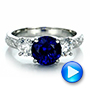 14K White Gold Custom Blue Sapphire and Diamond Anniversary Ring - Interactive Video - 100603 - Thumbnail