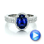 Custom Blue Sapphire and Diamond Halo Engagement Ring - Interactive Video - 100605 - Thumbnail