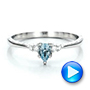 Custom Hand Engraved Aquamarine and Diamond Engagement Ring - Interactive Video - 100628 - Thumbnail