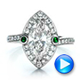 Custom Marquise Diamond with Halo and Emerald Engagement Ring - Interactive Video - 100636 - Thumbnail