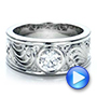 Custom Hand Engraved Diamond Solitaire Engagement Ring - Interactive Video - 100655 - Thumbnail