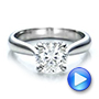 Platinum Custom Solitaire Engagment Ring - Video -  100685 - Thumbnail