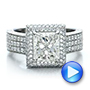 Platinum Custom Micro-pave Halo Diamond Engagement Ring - Video -  100686 - Thumbnail