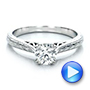 Custom Antique Hand Engraved Diamond Solitaire Engagement Ring - Interactive Video - 100716 - Thumbnail
