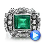 Emerald and Diamond White Gold Ring - Interactive Video - 100737 - Thumbnail