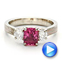 Custom Sapphire, Diamond and Mokume Engagement Ring - Interactive Video - 100771 - Thumbnail