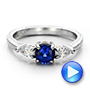 Platinum And 18K Gold Custom Blue Sapphire And Diamond Hand Engraved Engagement Ring - Video -  100794 - Thumbnail