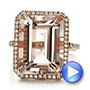 Emerald Cut Morganite And Diamond Halo Ring - Video -  100799 - Thumbnail