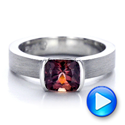 Platinum Custom Sapphire Engagment Ring - Video -  100805 - Thumbnail