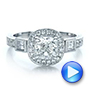 14k White Gold Custom Diamond Halo And Hand Engraved Engagement Ring - Video -  100813 - Thumbnail
