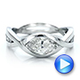 14k White Gold Custom Marquise Diamond Engagement Ring - Video -  100824 - Thumbnail