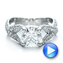 Platinum Custom Pave Diamond Engagement Ring - Video -  100835 - Thumbnail