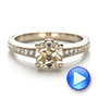 Custom Diamond and Hand Engraved Engagement Ring - Interactive Video - 100836 - Thumbnail