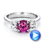 Custom Pink and White Sapphire Engagement Ring - Interactive Video - 100863 - Thumbnail