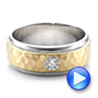 Platinum And 18k Yellow Gold Custom Two-tone Hammered Finish And Diamond Men's Band - Video -  100864 - Thumbnail