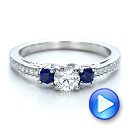 Custom Blue Sapphire and Diamond Engagement Ring - Interactive Video - 100876 - Thumbnail