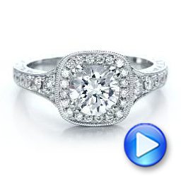 Hand Engraved Diamond Engagement Ring - Kirk Kara - Interactive Video - 100877 - Thumbnail