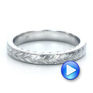 Custom Hand Engraved Wedding Band - Interactive Video - 100880 - Thumbnail