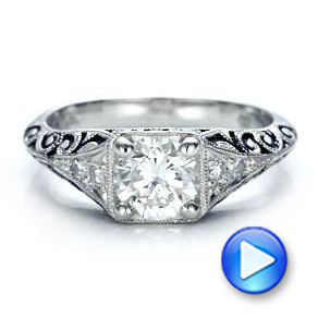 Custom Antiqued and Hand Engraved Diamond Engagement Ring - Interactive Video - 100881 - Thumbnail
