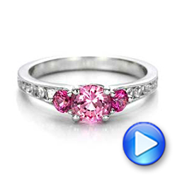 Custom Pink and White Sapphire Engagement Ring - Interactive Video - 100883 - Thumbnail