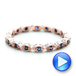 14k Rose Gold Custom Blue Sapphire Wedding Band - Video -  100884 - Thumbnail