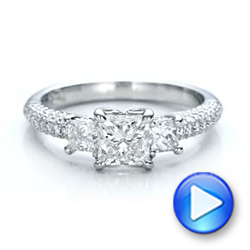 Custom Three Stone and Pave Diamond Engagement Ring - Interactive Video - 100886 - Thumbnail