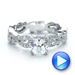Filigree and Diamond Engagement Ring - Kirk Kara - Interactive Video - 100890 - Thumbnail
