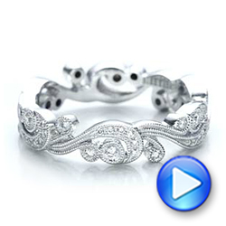 Filigree and Diamond Eternity Wedding Band - Kirk Kara - Interactive Video - 100891 - Thumbnail