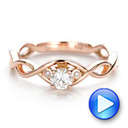 Custom Rose Gold and Diamond Engagement Ring - Interactive Video - 100922 - Thumbnail