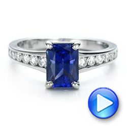Platinum Custom Blue Sapphire And Diamond Engagement Ring - Video -  100923 - Thumbnail