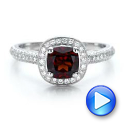 Custom Garnet and Diamond Halo Engagement Ring - Interactive Video - 100925 - Thumbnail
