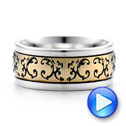 Women's Engraved Two-Tone Wedding Band - Interactive Video - 101061 - Thumbnail