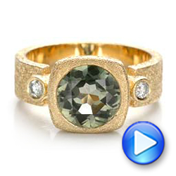 Custom Green Sapphire and Textured Yellow Gold Engagement Ring - Interactive Video - 101104 - Thumbnail