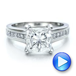 Custom Channel Set Princess Cut Diamond Engagement Ring - Interactive Video - 101107 - Thumbnail