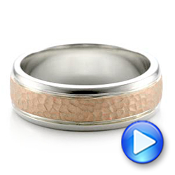 18K Gold And 14k Rose Gold Custom Men's Hammered Band - Video -  101162 - Thumbnail