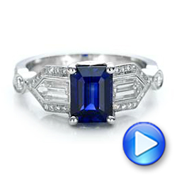 Platinum Custom Blue Sapphire And Diamond Engagement Ring - Video -  101164 - Thumbnail