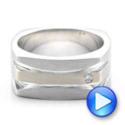 Custom Men's Brushed Two-Tone White Gold Band - Interactive Video - 101171 - Thumbnail