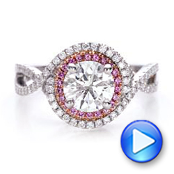 Custom Two-Tone Pink Sapphire and White Diamond Halo Engagement Ring - Interactive Video - 101175 - Thumbnail