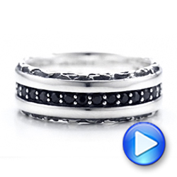 Men's Black And White Sterling Silver Band - Video -  101180 - Thumbnail
